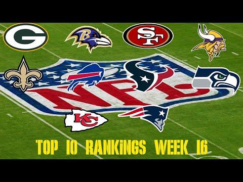 NFL Week 16 Top 10 Team Rankings