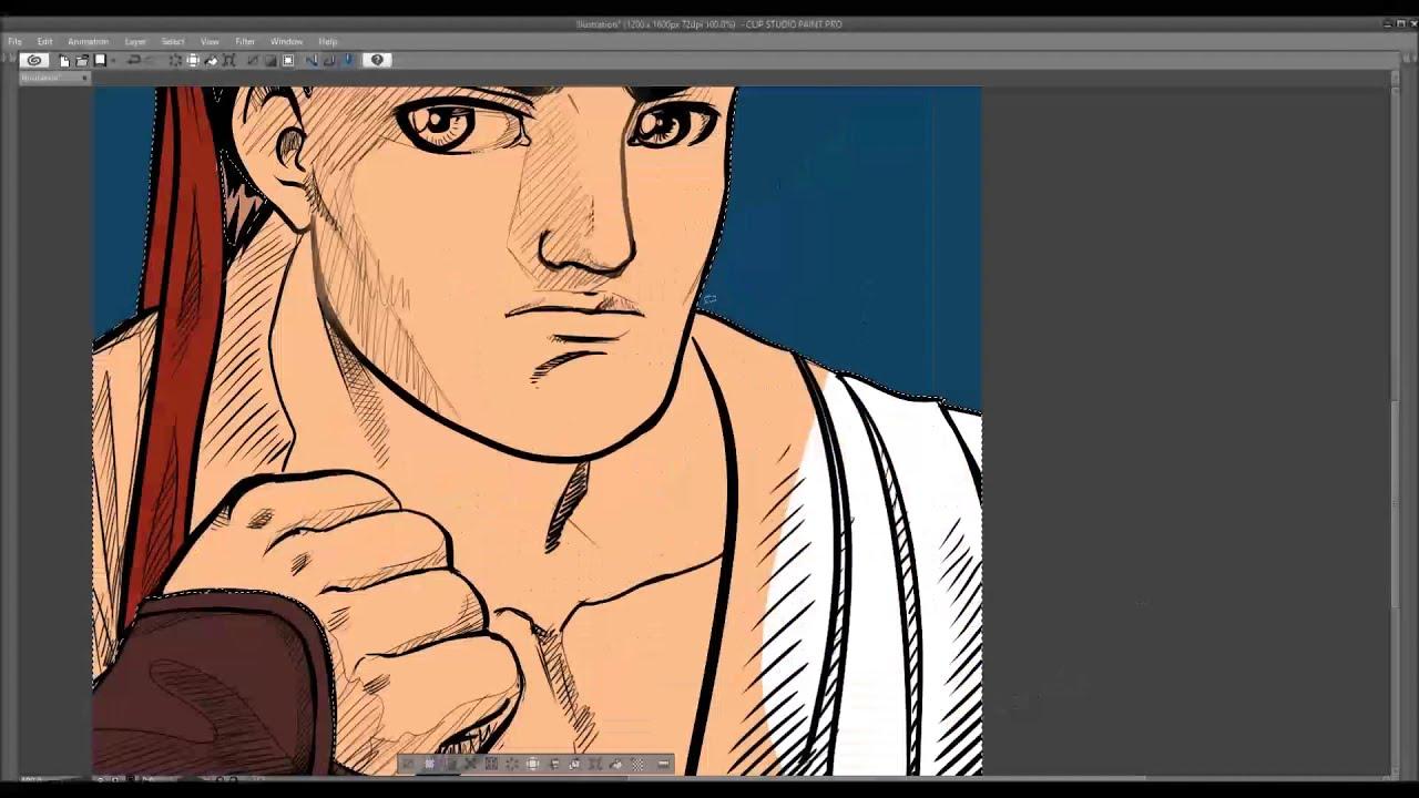 Desenhando Ryu de perfil