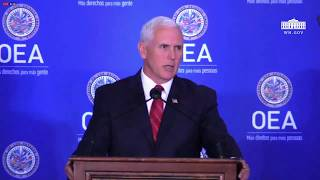 vice president pence delivers remarks during a protocolary meeting at the oas