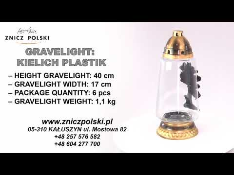 Memorial Candles KIELICH PLASTIK GOLD Large monumental candle with the image of a monument tree