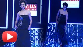 OOPS! Kangana Ranaut Was About To Fall On Stage At Wills Lifestyle India Fashion Week 2014