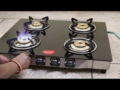 4 Burner Gas Stove Gl Pigeon Blackline Cooktop Best Hindi