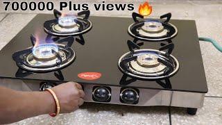4 Burner Gas Stove Glass Pigeon Blackline cooktop Best Hindi