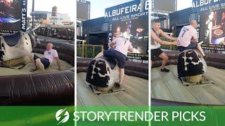 Drunk Man Struggles To Get On Mechanical Bull