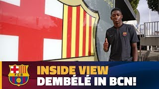 The french striker's plane touched down at el prat airport around 5.30pm cet on sunday, from where he was taken directly to camp nou pose for t...