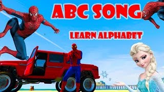 ABC SONG FOR CHILDREN w/ LEARN ALPHABET WITH SPIDERMAN & ELSA w/ NURSERY RHYMES CARTOON FOR KIDS