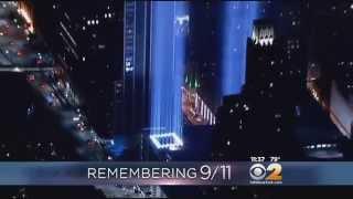 Beams Illuminate Night Sky Over Manhattan On 9/11 Anniversary