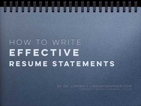 how to write effective resume statements