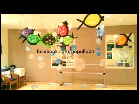 Balloon decorations under the sea by popalloon youtube for Balloon decoration ideas youtube