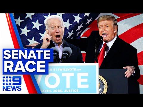 Trump and Biden return to Senate election campaign trail | 9 News Australia thumbnail