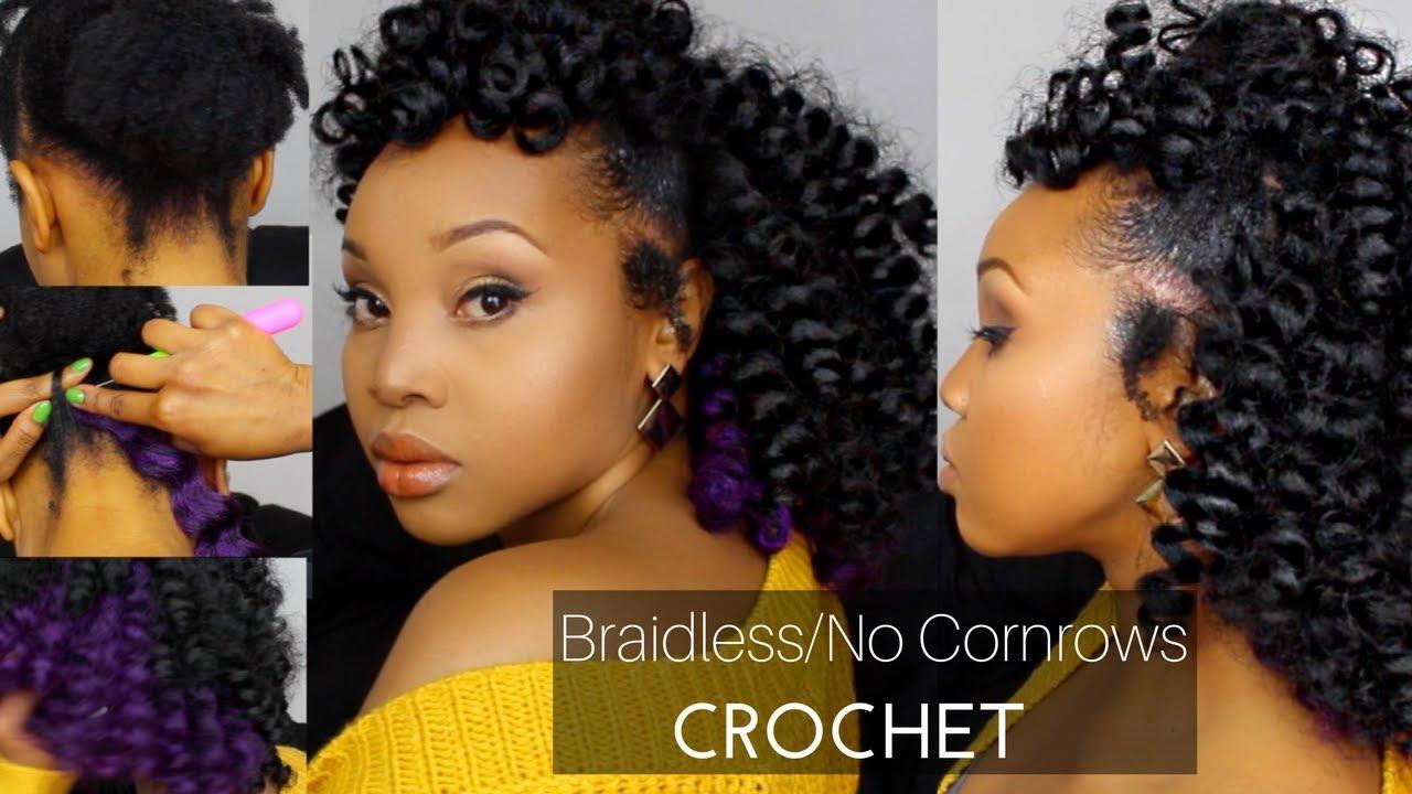 HOW TO BRAIDLESSNO CORNROWS CROCHET W JAMAICAN BOUNCE