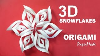 How to make Beautiful 3D SnowFlakes Origami | Very Easy Tutorial | DIY | PaperMade