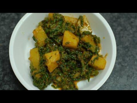 Oily Spinach potatoes - Aloo Palak - By Vahchef @ vahrehvah.com