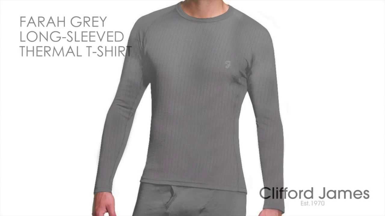 Farah Grey Thermal Long Sleeved T-Shirt - YouTube c39274376630