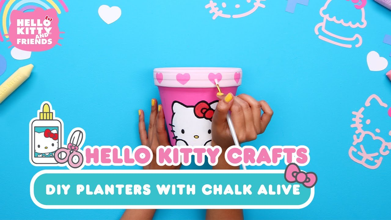 DIY Planters with Chalk Alive   Hello Kitty Crafts