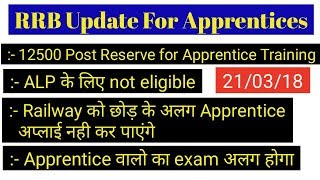 BIG UPDATES FROM RRB :12500 POST Reserve For Apprentice Trainee ALP, TECHNICIAN & GROUP-D  NEWS