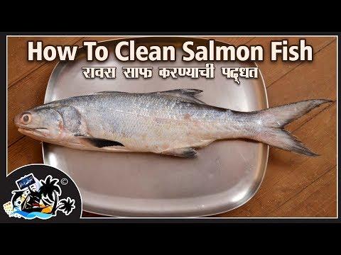 How To Clean Ravas (Salmon) Fish | Simple Way to Clean A Fish | रावस मासा साफ करण्याची सोपी पद्धत