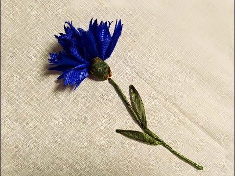 Василек луговой из атласных лент Meadow Cornflower Of Satin Ribbons