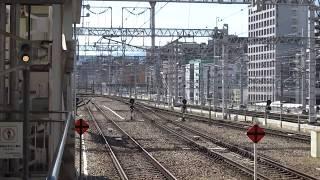 博多駅の山陽新幹線ホームから見た博多南駅方面の風景と停車中のN700系