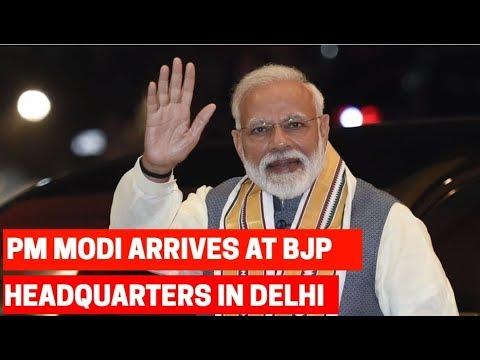 PM Modi arrives at BJP Headquarters in Delhi