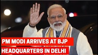PM Modi arrives at BJP Headquarters in Delhi thumbnail