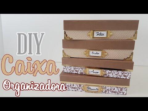 DIY : CAIXAS ORGANIZADORAS Feitas com papel e cola  Viviane Magalhães