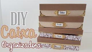 DIY : CAIXAS ORGANIZADORAS Feitas com papel e cola| Viviane Magalhães