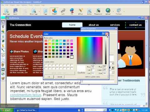 Coffee Cup Visual Site Designer Tutorial 1