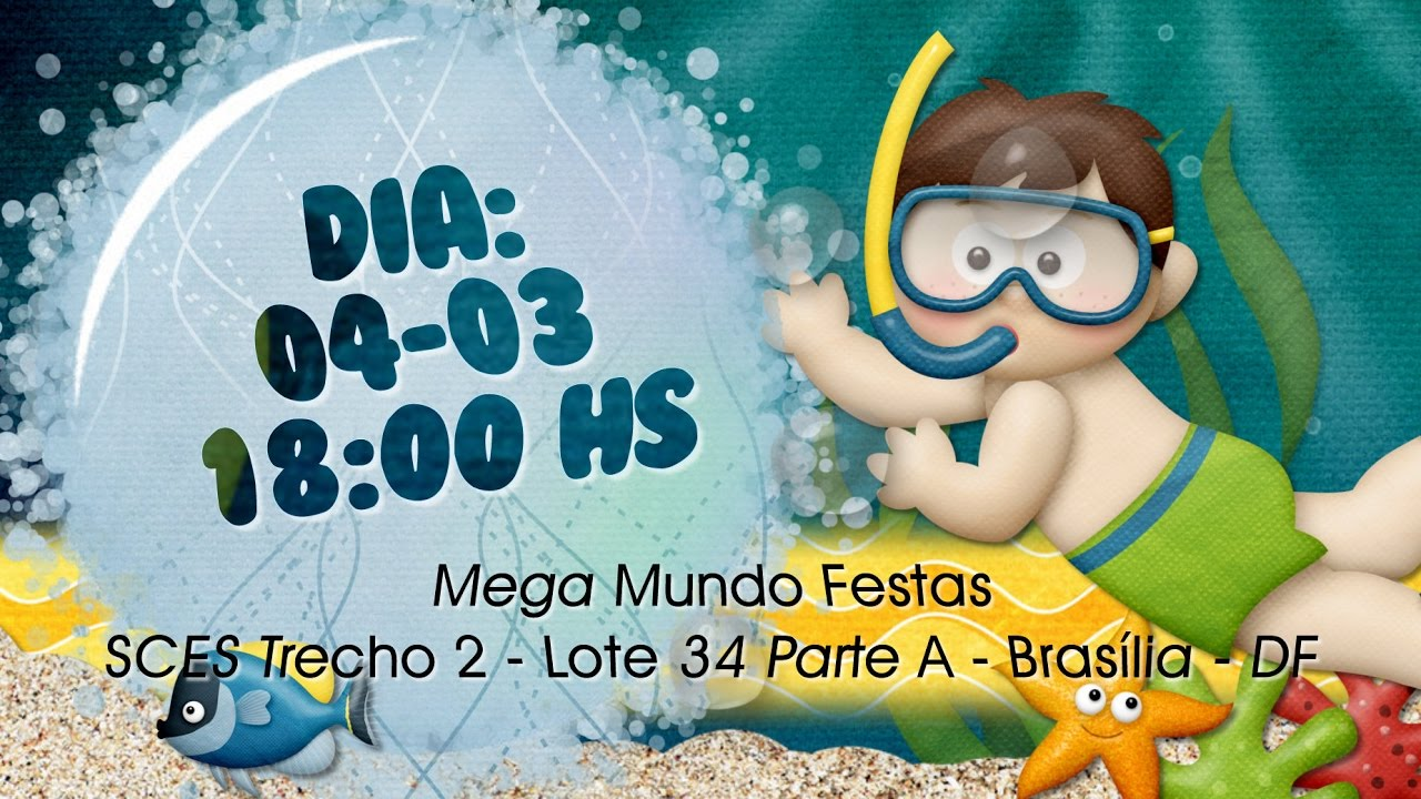 Convite Animado Fundo Do Mar Marcel 1 Aninho Por Raquel Mendes