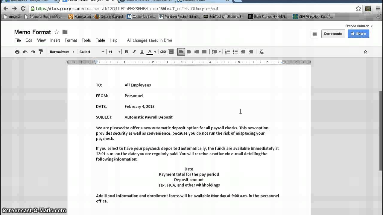 memorandum format google documents youtube