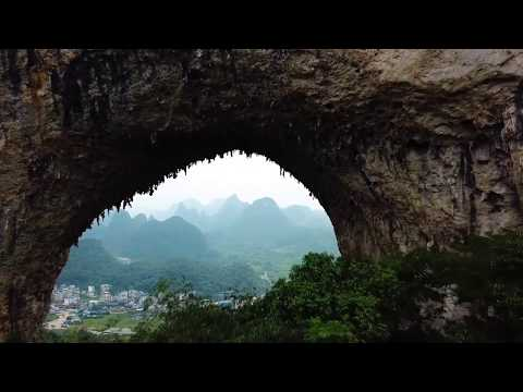 Drone footage of China, Yangshuo Mountains (1 min)