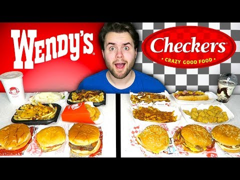 WENDY'S vs. CHECKERS - Fast Food Restaurant Taste Test!