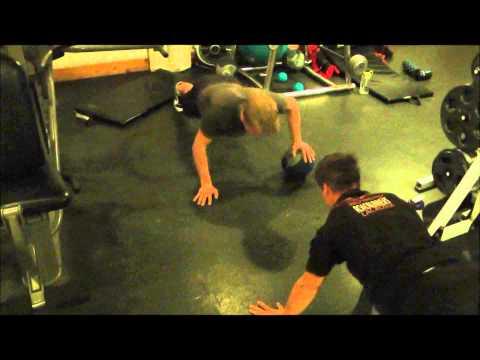 medicine ball partner push ups
