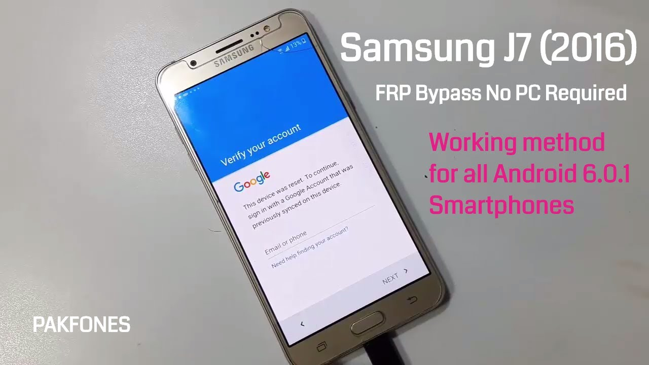 Samsung J7 2016 frp bypass without pc - Also tested for other Samsung J  Series Phones