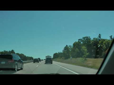 driver view ON Hwy. 401 east from exit 599 to Odessa Service Area Ontario Canada