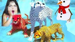 СИМУЛЯТОР дикой КОШКИ наступила ЗИМА котята гепарда виртуальный питомец видео для детей Валеришка