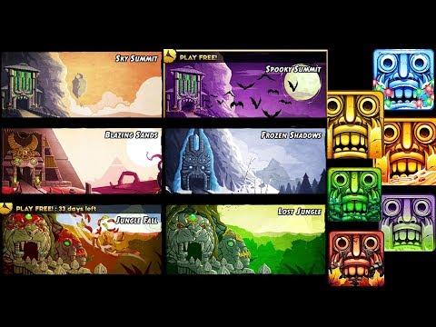 Temple Run 2 All 6 Maps Gameplay   Sky Summit   Frozen Shadows   Blazing Sands   Jungle Fall