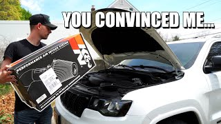 I DON'T KNOW IF I LIKE IT...   K&N Cold Air Intake Install On The Jeep!