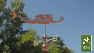 Good Directions 966p Mermaid With Starfish Weathervane - Polished Copper