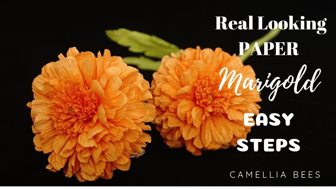How To Make Realistic Paper Marigold Flower From Crepe Paper Easy