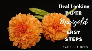 How to make Paper Marigold flower from crepe paper - Easy and Fast for Day of the Dead
