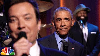 .Slow Jam the News. with President Obama Jimmy Fallon and President Obama slow jam