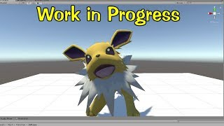 Importing my Jolteon animation into a Game engine. (WIP)