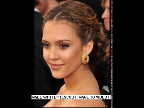 Jessica Alba Braided Updo Hairstyles 2016 - YouTube