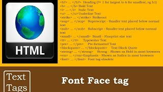 Font Face tag in Text Tags | HTML Programming Tutorials for beginners