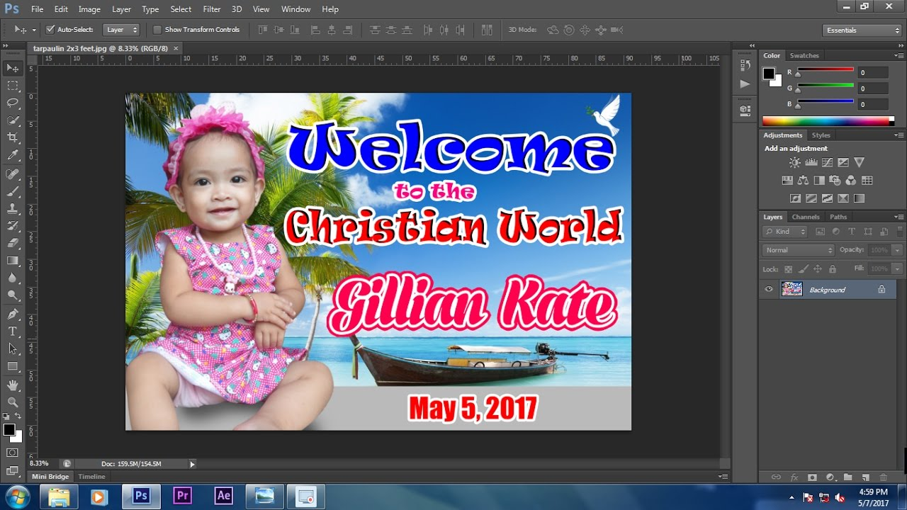 How To Make A Baptism Christening Tarpaulin Design In All Adobe Photoshop