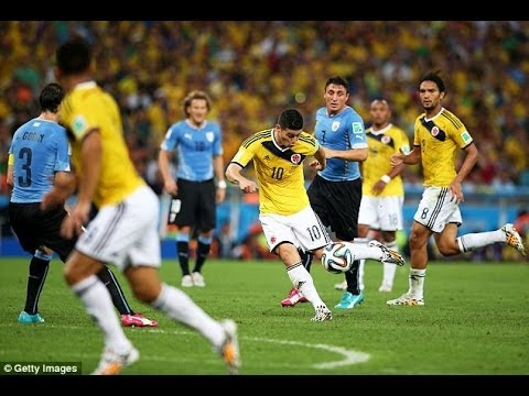 JAMES RODRIGUEZ 2 goals vs Uruguay in World Cup 2014