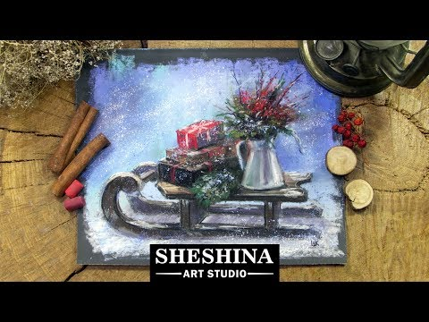How to draw a Christmas sleigh with soft pastels 🎨 REAL-TIME