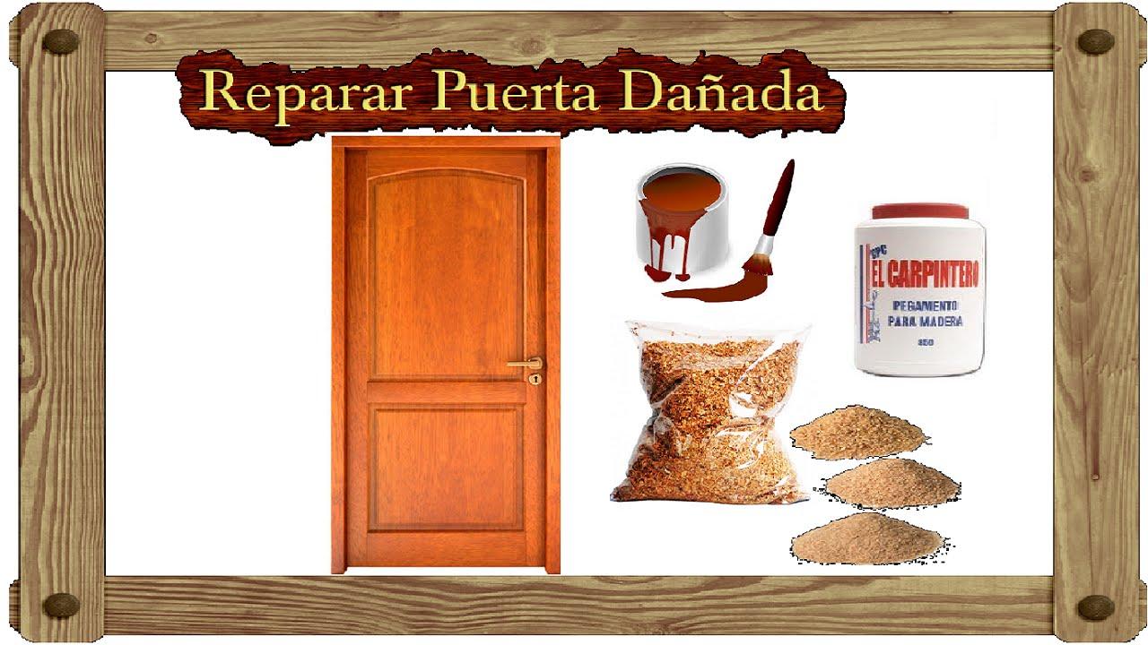 Como reparar puerta de madera pasta para tapar agujeros o for Perchas para puertas sin agujeros