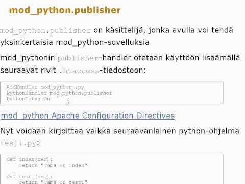 Apache, CGI, SSI ja mod_python